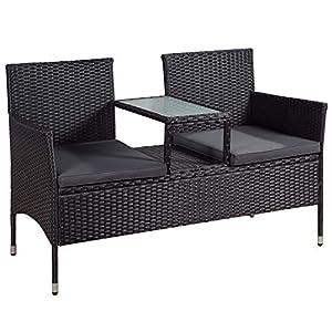 ArtLife Polyrattan Gartenbank Monaco grau-meliert – 2-Sitzer Bank mit integriertem Tisch & Kissen in Grau – 133 × 63…