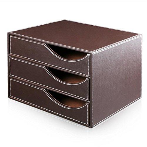 KKLL 3 capas de cuero caja de almacenamiento archivadores estilo del cajón del escritorio de la PU tamaño de papel A4 lnformática gabinete acabado Material de oficina de negocios , coffee , 32.5*25.5*23.5cm