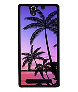 PrintVisa Designer Back Case Cover for Sony Xperia C3 Dual :: Sony Xperia C3 Dual D2502 (Beach Coast Coconut Famous Colorful Destination Beautiful Dusk)