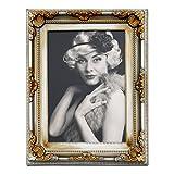 WOLTU BR9749-a Bilderrahmen Fotogalerie Foto Collage, Barock, Antik, Kunststoff Rahmen, Pappe Rückseite, Glasscheiben, Gold-Silber, 10x15cm