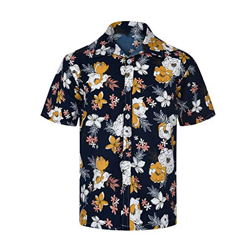 Fenverk Herren Hemd Kurzarm Shirt Sommer Hawaiihemd FüR Strand Hawaii Kurzarmhemd Blumenprint Funky Hawaiishirt Freizeithemd Urlaub Hawaii-Print(Gelb-08,S) Dolce & Gabbana Hut