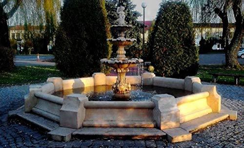 Casa Padrino Barock Springbrunnen/Gartenbrunnen Junge mit Goldfisch Grau Ø 490 x H. 190 cm - Großer 3-Stufiger Brunnen mit Umrandung