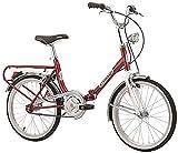 Cicli Cinzia Pieghevole Firenze, senza Cambio, Bicicletta Unisex – Adulto, Rosso/Bianco, 20