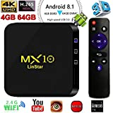 MX10 Android 8.1,4GB/64GB Android TV Box, RK3328 UHD 4K 1080P Bluetooth Smart TV