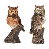 Juvale Owl Figuren - Packung mit 2 Mini Eule Harz Figuren, Fee Garten Zubehör, Owl Decor Ornamente Perfekt für Kinder, Innen- und Outdoor-Dekor, Multicolor, 3 x 1,25 x 1 Zoll