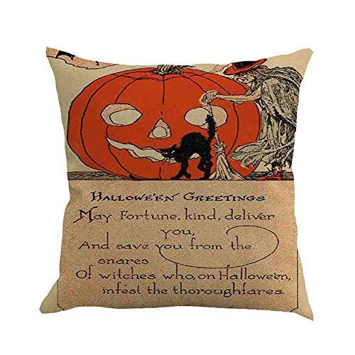Sumeiwilly Halloween Kissenbezüge 1er Set Dekokissenhülle mit Verstecktem Reißverschluss für Sofa Auto Bett 45cmX45cm Gelb Schwarz -