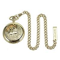 manchda® Reloj de bolsillo cadena especial oro Cow-Boy cadena 13inch Single Albert Curb cadena de reloj de bolsillo marca ManChDa