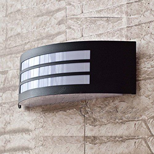 Applique Moderne Lampe Murale Extérieure Semi-Circulaire Luminaire De Jardin IP44 Noir Mat 2/1/825