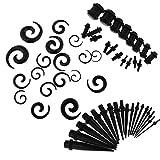 non-brand Sharplace 54 Pezzi Tappi Barre Auricolari In Materiale Acrilico A Forma Spirale Da Orecchio Accessori Gioielli Per Piercing - Nero