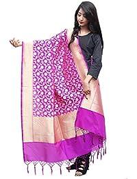Asavari Magenta Banarasi Silk Hand-loom Dupatta With Zari Jaal Weaves