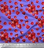 Soimoi Lila Satin Seide Stoff Himbeere, Erdbeere und