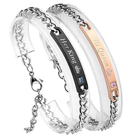 JOVIVI Bracelet Couple Acier Inoxydable avec Zircon Strass