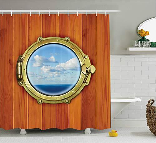 ABAKUHAUS Mandala Tenda da Doccia, Disegno Floreale Orientale, Idrorepellente Alta Qualita' con 12 Anelli Set, 175 x 200 cm, Bluegrey Arancione Beige