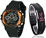 Users ORGBLK Sports7 Light_Band DEL to DSS Digital Watch - For Boys & Girls Set of 2 watches