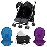 Zeta Citi TWIN Brother & Sister Stroller Buggy Pushchair - + x2 Liners + Bag