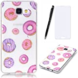 Lotuslnn Samsung Galaxy A3 2016 Coque,Samsung Galaxy A3 2016 /SM-A310 TPU Silikon Etui Transparent Housse Cases and Covers (Coque+ Stylus Pen + Tempered Glass Protective Film)- Donuts