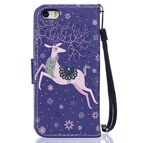 iPhone SE Hülle,iPhone 5 Tasche,iPhone 5s Hülle,iPhone SE iPhone 5 iPhone 5S Leder Cover,Cozy Hut PU Leder Hülle für iPhone SE 5 5S Ledertasche Schutzhülle Case[Stand Feature] Flip Case Cover Etui mit Schnee-Rotwild