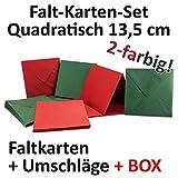 quadratisches Karten Set inklusive Briefumschläge | 50er-Set | Blanko Einladungskarten in zwei attraktiven Farben Rot und Grün | bedruckbare Post-Karten 135 x 135 mm | 13,5 x 13,5 cm | Faltkarten / Klappkarten | ideal zum Selbstgestalten & Kreieren | Mit Gratis Geschenkbox | GUSTAV NEUSER C-Line