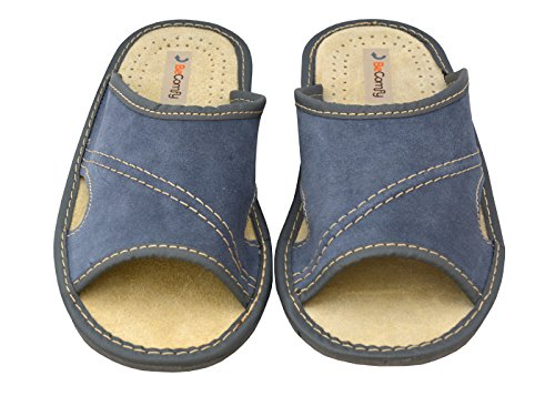 BeComfy Chaussures en cuir pour homme chaussons mules bleu boîte à cadeau en option Modèle XC67 Bleu