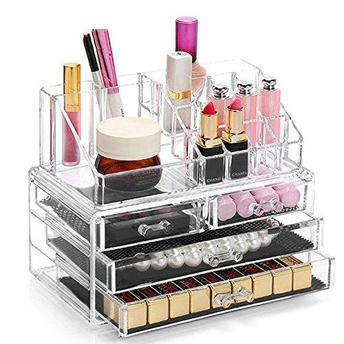 TuTu Boîte de rangement en céramique en cristal acrylique transparente Boîte de rangement pour crayons à lèvres Boîte de collection de bijoux (24 * 13.5 * 18.5cm)