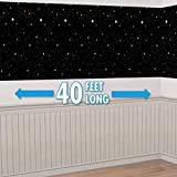 40ft Star Starry Night Sky Scene Setter Christmas Room Roll Decoration Backdrop Black White