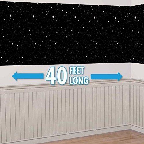 40ft Star Starry Night Sky Scene Setter Christmas Room Roll Decoration Backdrop Black White by Amscan
