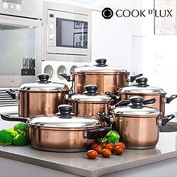 Batteria da Cucina Cook D'Lux (12 pezzi) Pentole Acciaio Inox Design