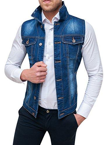 giubbotto smanicato di jeans uomo blu denim cardigan gilet giacca casual (m)