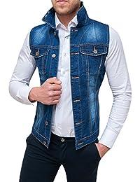 Evoga Giubbotto Smanicato di Jeans Uomo Blu Denim Cardigan Gilet Giacca  Casual 652fb141798