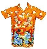 SAITARK - Camicia Hawaiana da Uomo, Motivo Estivo con Palme - XX-Large - Arancione