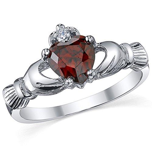 Damen Sterling Silber 925 Claddagh Ring Mit Rot Granat Herz Zirkonia Bequemlichkeit Passen,Größe 47