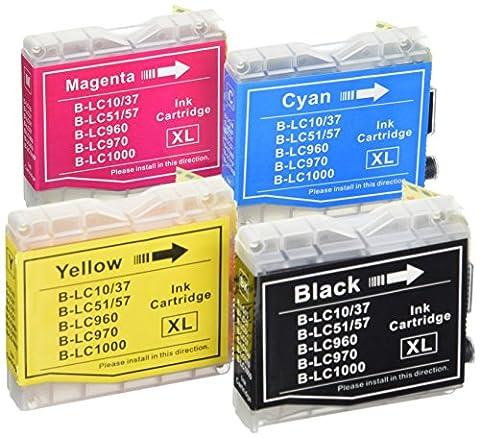 Prestige Cartridge LC1000 / LC970 Lot de 4 Cartouches d'encre compatible avec Imprimante Brother DCP-130C, DCP-135C, DCP-150C, DCP-153C, DCP-155C, DCP-157C, DCP-260C, DCP-330C, DCP-350C, DCP-353C, DCP-357C, DCP-375C, DCP-540CN, DCP-560CN, DCP-750CW, DCP-770CW, Fax-1355, 1360, 1460, 1560, 1860C, 1960C, 2480C, 2580C, 2840C, MFC-230C, 235C, 240C, 240CN, 260C, 345CW, 440CN, 460CN, 465CN, 560CN, 630CD, 630CDW, 660CN, 665CW, 680CN, 685CW, 690CN, 845CW, 850CDN, 850CDWN, 860CDN, 885CW, 3360C, 5460CN, 5860CN, Noir/Cyan/Magenta/Jaune