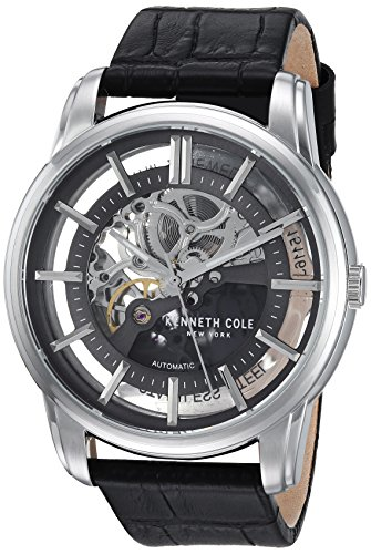 Kenneth Cole Mens Transparency Dial Black Leather Strap KC15116001