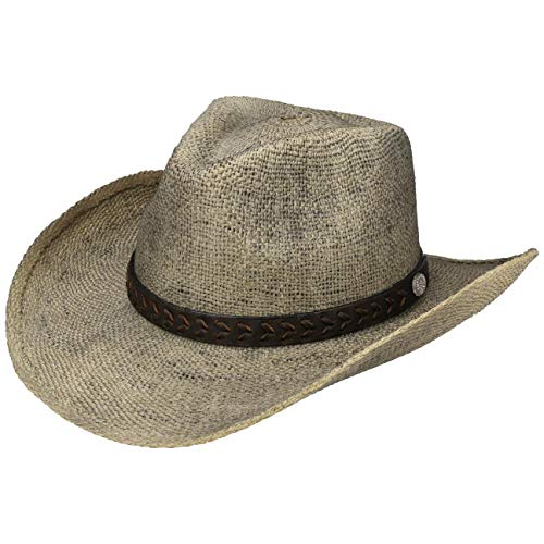 stern Toyo Stoffhut Westernhut Cowboyhut Sonnenhut Strandhut Herren | mit Lederband Frühling-Sommer | L (58-59 cm) beige ()
