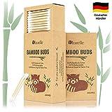BLUZELLE [200 pezzi] Bamboo Buds, tamponi di cotone 100% privi di plastica e diodegradabili, Q-Tips sostenibili in legno di bambù e cotone organico