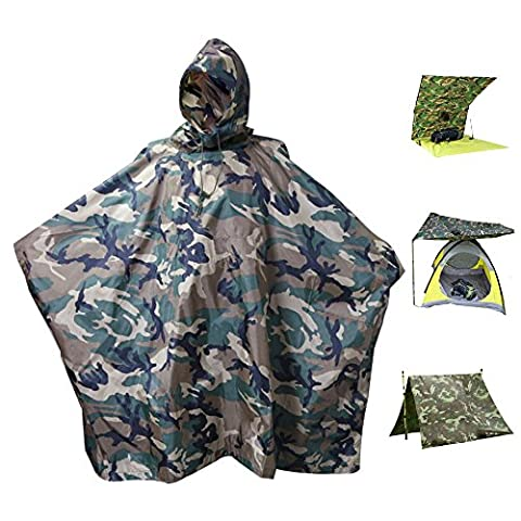 Women Men Unisex Rain Poncho Waterproof RipStop Hooded PVC Rain coat for Hunting Camping Military use with Emergency Grommet Corners