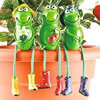 Burwells Frog Garden Ornaments Sitting Toad Plant Pot Perchers Figures Outdoors Set of 3