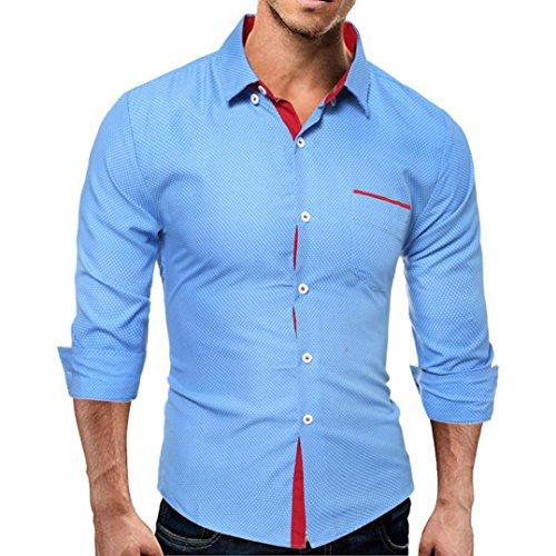 Hombres blusa casual Manga larga camisa de negocios Slim Fit blusa de calidad hight camisa By LMMVP (Azul, XL)