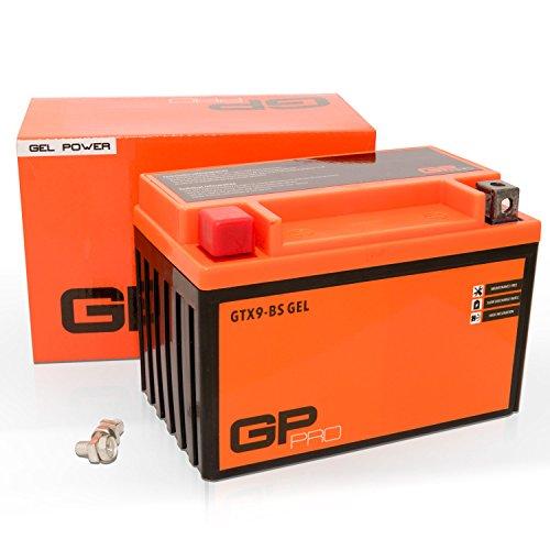 GP-PRO GTX9-BS - Batería de arranque para scooter y motos, 12V, 9Ah, parecido a YTX9-BS / 50812, sin necesidad de mantenimiento