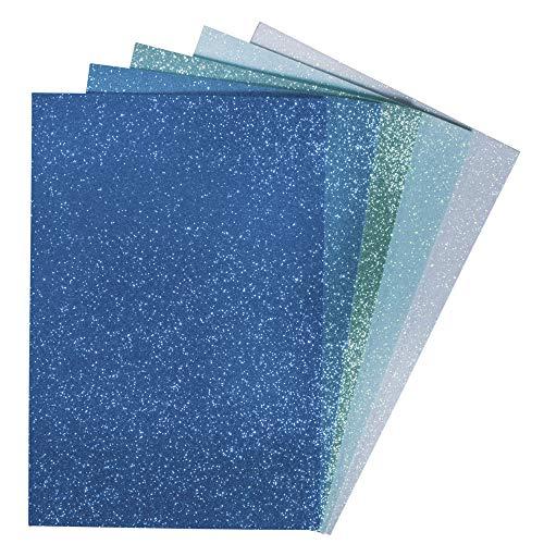 gummi Platten Glitter, selbstkleb., blau-grün, 20x30x0,2cm, 5 Farben, SB-Btl 5 Stück ()