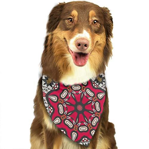 Sitear Colorido Adorno simétrico Doodle Tribal étnico Mandala Perro Gato Bandana triángulo Baberos Bufanda Mascota Adecuado para Perros pequeños a Grandes Gatos