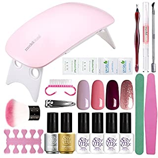 Gel Nail Starter Kit, Sexy Mix Mini LED Nail Dryer with 4 Gel Nail Polish,Top and Base Coat, Manicure Tools Set