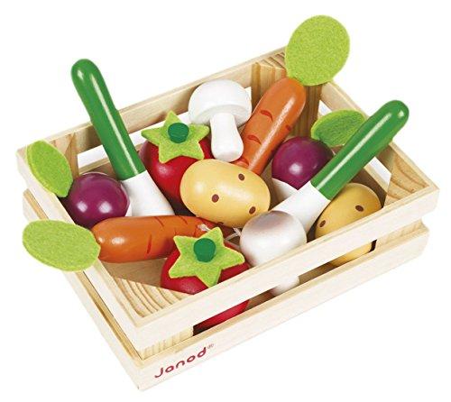 Janod Holzspielzeug - Gemüsesortiment in Kiste Kaufladen Markt 12 Teile - 16 x 4,7 x 12 cm, Mehrfarbig