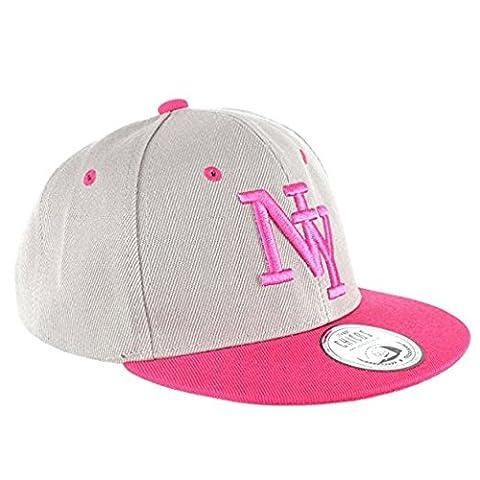 Johnny Chicos Sorry I'm fresh süße Kindercap Kinder Cap Snapback 48-58cm Kopfumfang, Größe:Kinder;Farbe:NY Grau Pink
