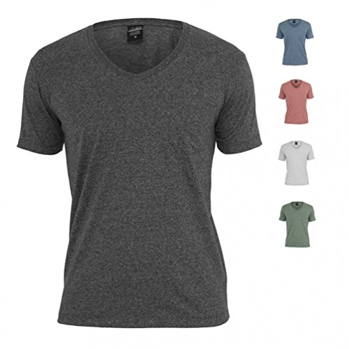 Urban Classics Herren T-Shirt Melange V-Neck Pocket Tee Navy