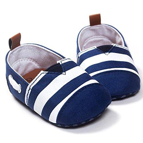 BYSTE Scarpe da Bambino Sneaker Pelle Anti Scivolo Fondo Morbido Scarpe per Bambini Neonato Ballerine Piatto Scarpine Primi Passi 0-18 Mesi (0-6 Mesi, Blu)
