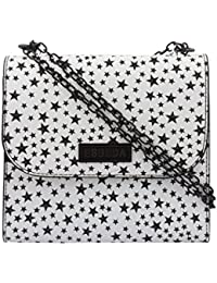 ESBEDA Black & White Printed PU Synthetic Slingbag For Women