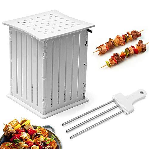 LARRY SHELL Aufsteckspindeln Slicer BBQ Grill Shish Kebab Maker Kit 36   Loch Tragbarer Grillgrill Gebratener Fleischschneider Sparen Sie Zeit und Energie 6,3x5,7x7,3 Zoll Weiß