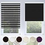 Doppelrollo VarioLight mit Kassette | Duo-Rollo für Fenster flexibel einstellbar - blickdicht oder transparent | Rollo Größe & Farbe wählbar (80 cm Breite x 150 cm Länge) | Schwarz