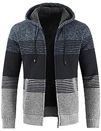 SANFASHION Chaqueta de Invierno para Hombre con Cremallera a Rayas con Capucha Outwear Tops Sweater Blusa